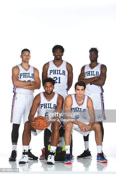 Ben Simmons of the Philadelphia 76ers Joel Embiid of the Philadelphia 76ers Nerlens Noel of the Philadelphia 76ers Jahlil Okafor of the Philadelphia...