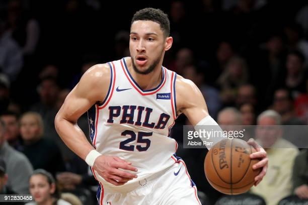 Ben Simmons of the Philadelphia 76ers looks down the court in the third quarter against the Brooklyn Nets during their game at Barclays Center on...