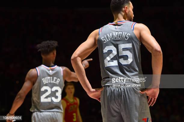 Ben Simmons of the Philadelphia 76ers looks on against the Atlanta Hawks on January 11 2019 at the Wells Fargo Center in Philadelphia Pennsylvania...