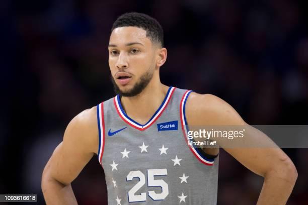 Ben Simmons of the Philadelphia 76ers looks on against the Atlanta Hawks at the Wells Fargo Center on January 11 2019 in Philadelphia Pennsylvania...