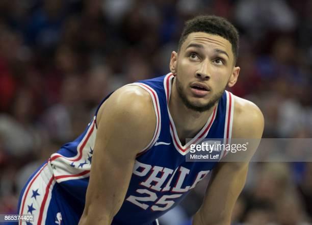 Ben Simmons of the Philadelphia 76ers looks on against the Boston Celtics at the Wells Fargo Center on October 20 2017 in Philadelphia Pennsylvania...