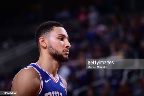 Ben Simmons of the Philadelphia 76ers looks on against the Phoenix Suns on November 4 2019 at Talking Stick Resort Arena in Phoenix Arizona NOTE TO...