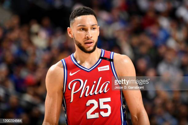 Ben Simmons of the Philadelphia 76ers looks on during a game against the LA Clippers on February 11 2020 at the Wells Fargo Center in Philadelphia...