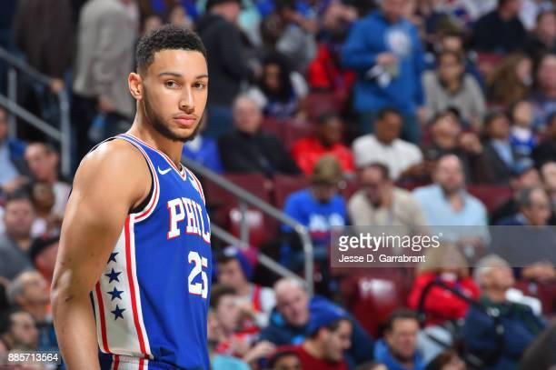 Ben Simmons of the Philadelphia 76ers looks on during the game against the Phoenix Suns on December 4 2017 at Wells Fargo Center in Philadelphia...