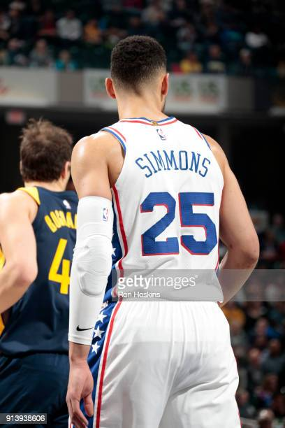 Ben Simmons of the Philadelphia 76ers looks on during the game against the Indiana Pacers on February 3 2018 at Bankers Life Fieldhouse in...