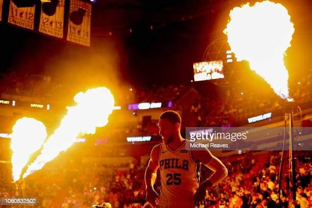 Ben Simmons of the Philadelphia 76ers looks on prior to the game against the Miami Heat at American Airlines Arena on November 12 2018 in Miami...