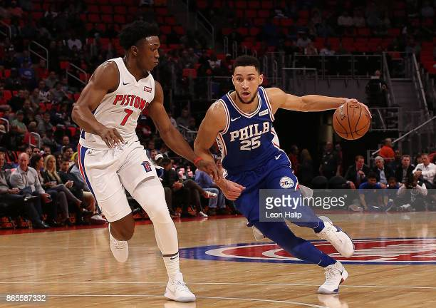 Ben Simmons of the Philadelphia 76ers looks to drive that ball to the basket as Stanley Johnson of the Detroit Pistons defend during the second...
