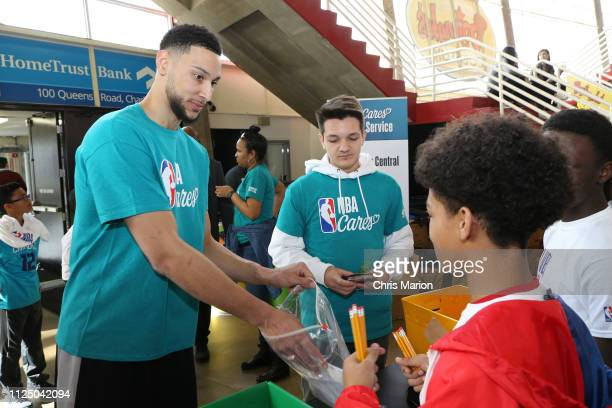 Ben Simmons of the Philadelphia 76ers participates in the 2019 NBA Cares AllStar Day of Service Classroom Central Packing Project on February 15 2019...