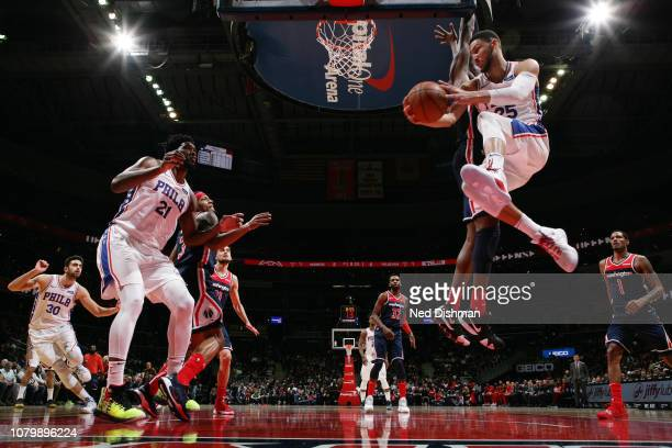 Ben Simmons of the Philadelphia 76ers passes the ball against the Washington Wizards on January 9, 2019 at Capital One Arena in Washington, DC. NOTE...