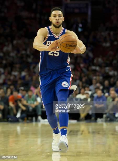 Ben Simmons of the Philadelphia 76ers passes the ball against the Boston Celtics at the Wells Fargo Center on October 20 2017 in Philadelphia...