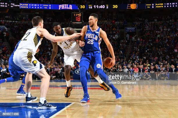 Ben Simmons of the Philadelphia 76ers passes the ball against the Indiana Pacers on November 3 2017 at Wells Fargo Center in Philadelphia...