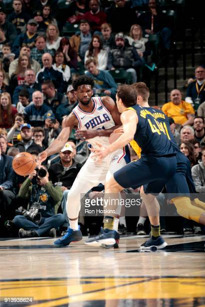 Ben Simmons of the Philadelphia 76ers passes the ball against the Indiana Pacers on February 3 2018 at Bankers Life Fieldhouse in Indianapolis...
