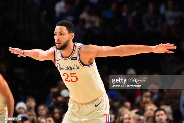 Ben Simmons of the Philadelphia 76ers plays defense against against the Indiana Pacers on November 30, 2019 at the Wells Fargo Center in...