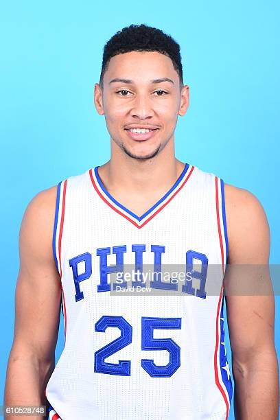 Ben Simmons of the Philadelphia 76ers poses for a head shot during media day at the Philadelphia 76ers Training Complex on September 262016 in Camden...