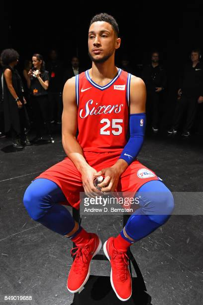 Ben Simmons of the Philadelphia 76ers poses for a photo to help unveil the new uniforms during the Nike Innovation Summit in Los Angeles California...