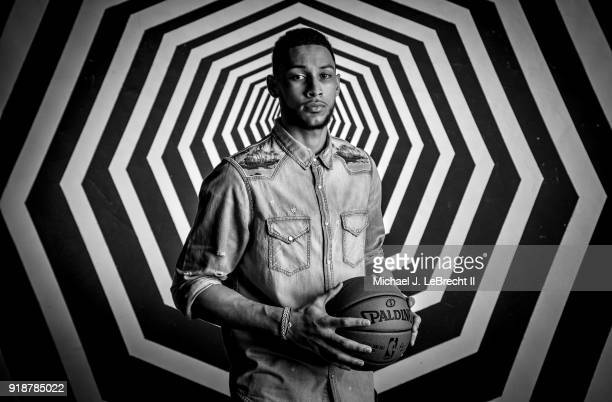 Ben Simmons of the Philadelphia 76ers poses for a portrait as part of the 2018 NBA AllStar Weekend on February 15 2018 at the Mariott in Los Angeles...