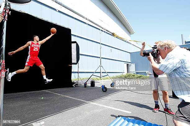 Ben Simmons of the Philadelphia 76ers poses for a portrait during the 2016 NBA rookie photo shoot on August 7 2016 at the Madison Square Garden...