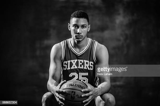 Ben Simmons of the Philadelphia 76ers poses for a portrait during the 2016 NBA Rookie Photoshoot at Madison Square Garden Training Center on August 7...