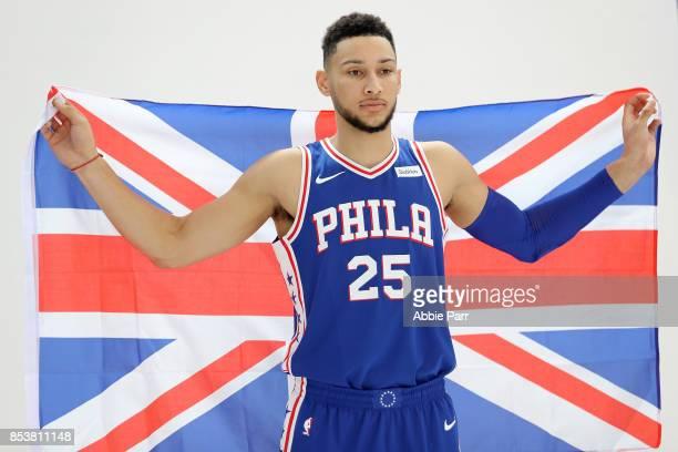 Ben Simmons of the Philadelphia 76ers poses for a portrait during the Philadelphia 76ers Media Day on September 25 2017 at the Philadelphia 76ers...