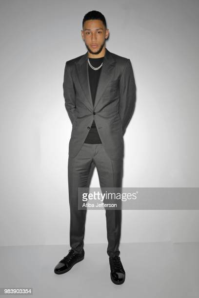 Ben Simmons of the Philadelphia 76ers poses for a portrait during the NBA Awards Show on June 25 2018 at the Barker Hangar in Santa Monica California...
