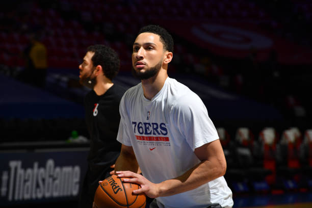 Ben Simmons of the Philadelphia 76ers practices free throws prior to a game against the Atlanta Hawks during Round 2, Game 7 of the Eastern...