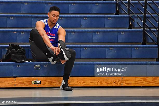 Ben Simmons of the Philadelphia 76ers puts his shoes on before practice at Stockton University on September 27 2016 in Camden New Jersey NOTE TO USER...