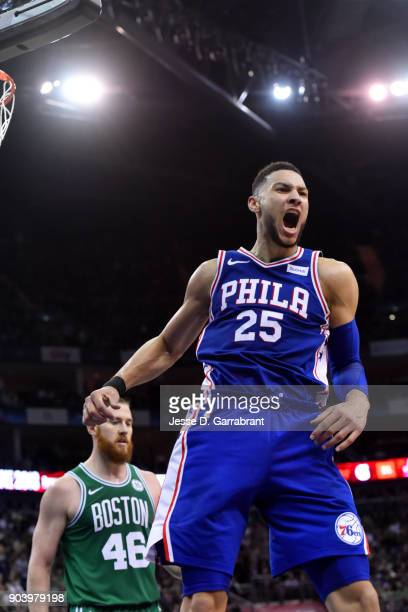 Ben Simmons of the Philadelphia 76ers reacts after dunking the ball during the game against the Boston Celtics on January 11 2018 at The O2 Arena in...