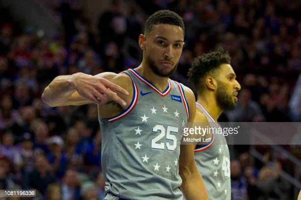 Ben Simmons of the Philadelphia 76ers reacts after making a basket and getting fouled in the first quarter against the Atlanta Hawks at the Wells...