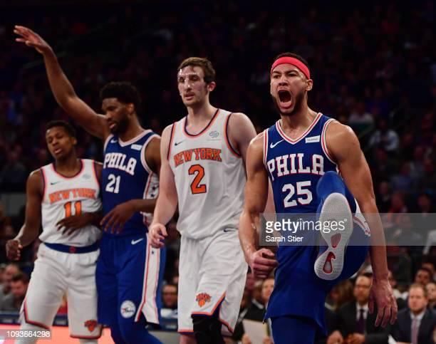Ben Simmons of the Philadelphia 76ers reacts after making a slam dunk during the second quarter of the game against the New York Knicks at Madison...