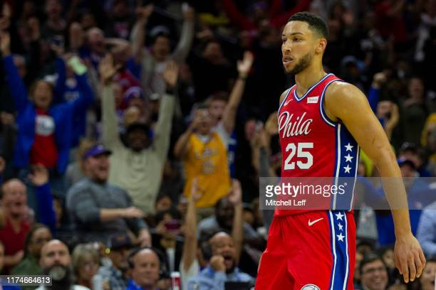 Ben Simmons of the Philadelphia 76ers reacts after making a three point basket in the second quarter against the Guangzhou LongLions during the...