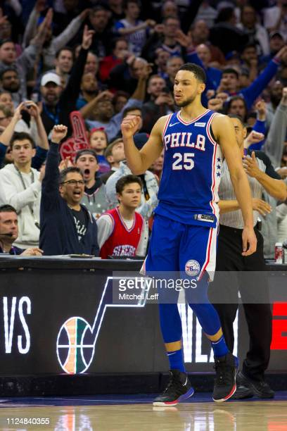 Ben Simmons of the Philadelphia 76ers reacts after the game against the San Antonio Spurs at the Wells Fargo Center on January 23 2019 in...