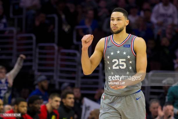 Ben Simmons of the Philadelphia 76ers reacts against the Atlanta Hawks at the Wells Fargo Center on January 11 2019 in Philadelphia Pennsylvania The...