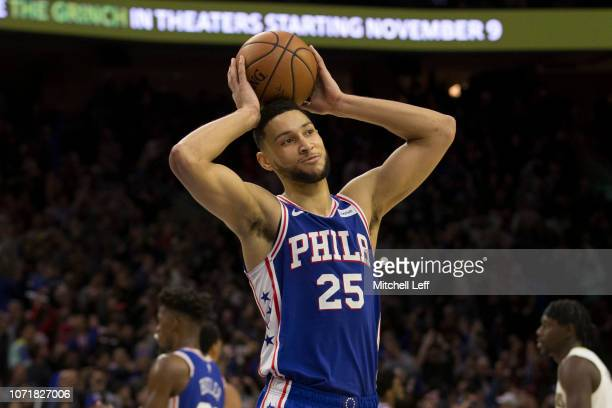 Ben Simmons of the Philadelphia 76ers reacts against the New Orleans Pelicans at the Wells Fargo Center on November 21 2018 in Philadelphia...