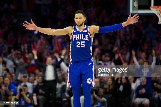 Ben Simmons of the Philadelphia 76ers reacts during action against the Brooklyn Nets in the fourth quarter of Game Two of Round One of the 2019 NBA...