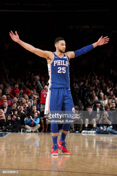 Ben Simmons of the Philadelphia 76ers reacts during the game against the New York Knicks on March 15 2018 at Madison Square Garden in New York City...