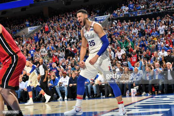Ben Simmons of the Philadelphia 76ers reacts during the game against the Miami Heat in Game Five of Round One of the 2018 NBA Playoffs on April 24...