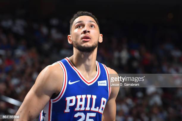 Ben Simmons of the Philadelphia 76ers reacts to a play against the Boston Celtics during the game on October 20 2017 at Wells Fargo Center in...