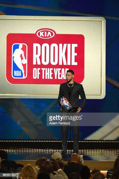 Ben Simmons of the Philadelphia 76ers receives Rookie of the Year Award during the 2018 NBA Awards Show on June 25 2018 at The Barkar Hangar in Santa...