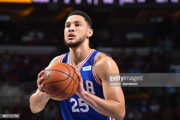 Ben Simmons of the Philadelphia 76ers shoots a foul shot against the Washington Wizards at Wells Fargo Center on November 29 2017 in Philadelphia...