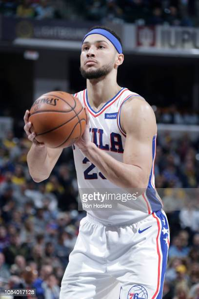 Ben Simmons of the Philadelphia 76ers shoots a free throw during the game against the Indiana Pacers on January 17 2019 at Bankers Life Fieldhouse in...