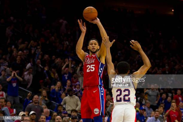 Ben Simmons of the Philadelphia 76ers shoots a three point shot CJ Harris of the Guangzhou Long Lions during the preseason game at the Wells Fargo...