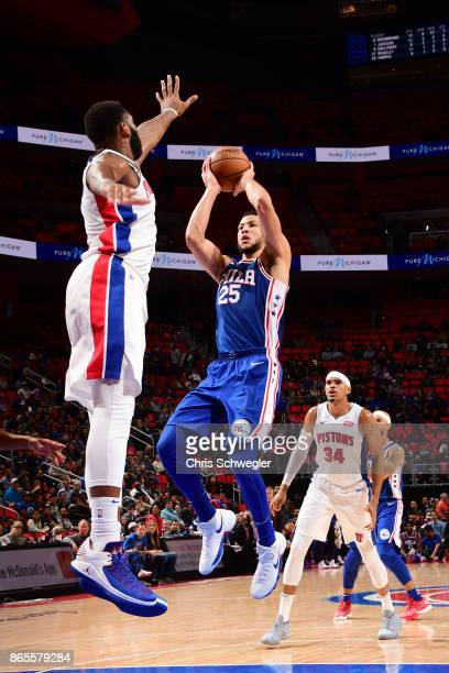 Ben Simmons of the Philadelphia 76ers shoots against the Detroit Pistons on October 23 2017 at Little Caesars Arena in Detroit Michigan NOTE TO USER...