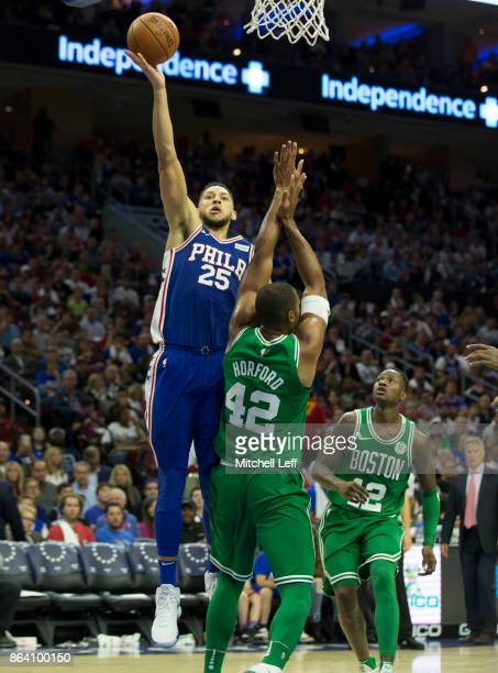 Ben Simmons of the Philadelphia 76ers shoots the ball against Al Horford of the Boston Celtics in the third quarter at the Wells Fargo Center on...