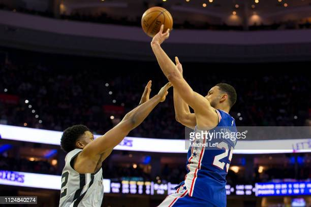 Ben Simmons of the Philadelphia 76ers shoots the ball against Rudy Gay of the San Antonio Spurs at the Wells Fargo Center on January 23 2019 in...