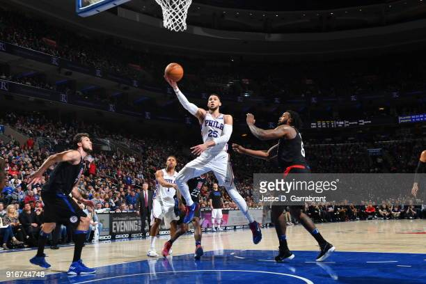 Ben Simmons of the Philadelphia 76ers shoots the ball against the Los Angeles Clippers at Wells Fargo Center on February 10 2018 in Philadelphia...