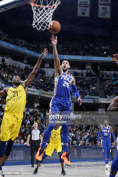Ben Simmons of the Philadelphia 76ers shoots the ball against the Indiana Pacers on November 7 2018 at Bankers Life Fieldhouse in Indianapolis...