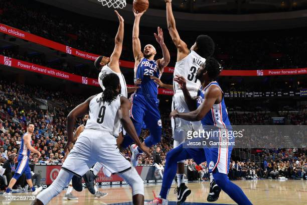 Ben Simmons of the Philadelphia 76ers shoots the ball against the Brooklyn Nets on December 12 2018 at the Wells Fargo Center in Philadelphia...