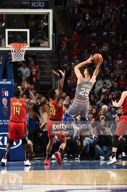 Ben Simmons of the Philadelphia 76ers shoots the ball against the Atlanta Hawks on January 11 2019 at the Wells Fargo Center in Philadelphia...