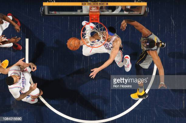 Ben Simmons of the Philadelphia 76ers shoots the ball against the Indiana Pacers on January 17 2019 at Bankers Life Fieldhouse in Indianapolis...