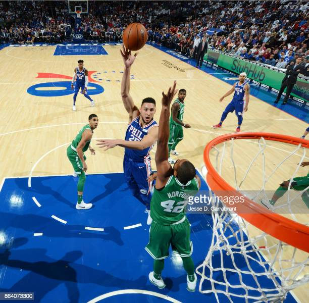 Ben Simmons of the Philadelphia 76ers shoots the ball against the Boston Celtics during the game on October 20 2017 at Wells Fargo Center in...